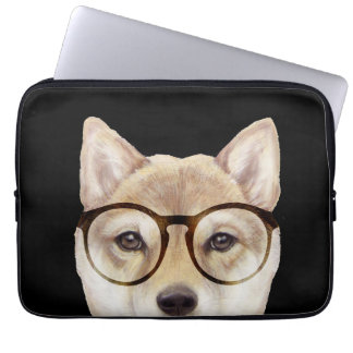 Shiba int with glasses laptop case