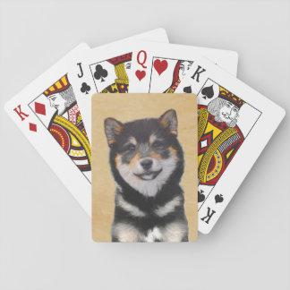 Shiba Inu (Black and Tan) Painting - Dog Art Playing Cards
