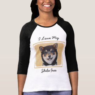 Shiba Inu (Black and Tan) Painting - Dog Art T-Shirt