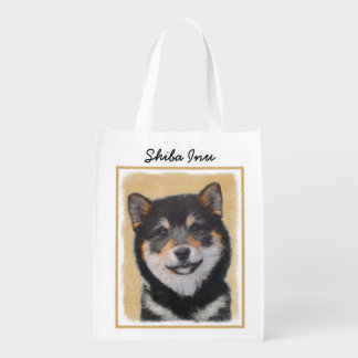 Shiba Inu (Black and Tan) Reusable Grocery Bag