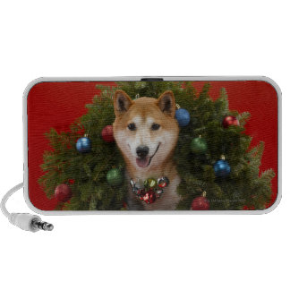 Shiba Inu dog sitting in Christmas wreath PC Speakers