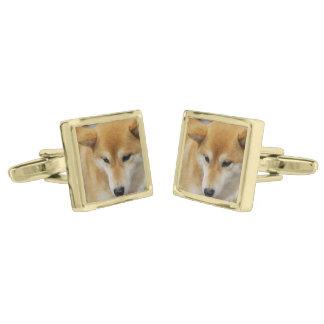 Shiba Inu Gold Finish Cuff Links
