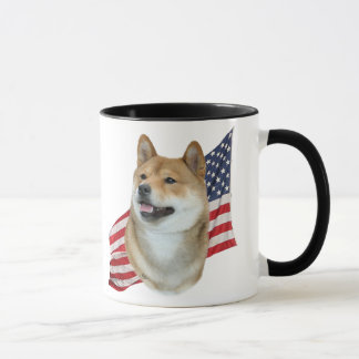 Shiba Inu head with American Flag Mug