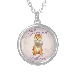 Shiba Inu Heart Mom Silver Plated Necklace