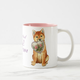 Shiba Inu Heart Mom Two-Tone Coffee Mug