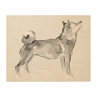 Shiba Inu ink wash painting 1 Wood Wall Art 14x11