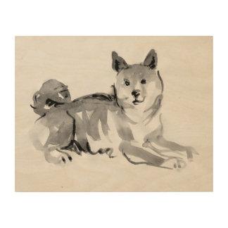 Shiba Inu ink wash painting 2 Wood Wall Art 14x11