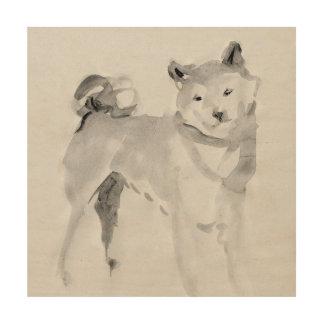 Shiba Inu ink wash painting 3 Wood Wall Art 12x12