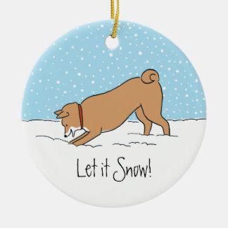 Shiba Inu Let it Snow - Happy Dog Holiday Ceramic Ornament