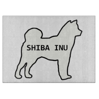 Shiba Inu name silhouette cream Cutting Board