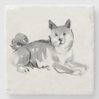 Shiba Inu Original Painting 2 Dog Year 2018 Stone Stone Coaster