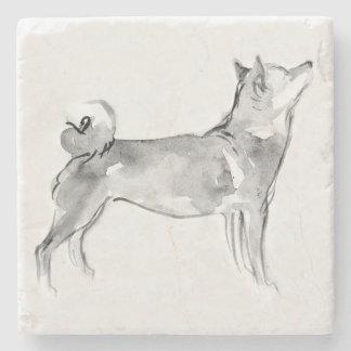 Shiba Inu Original Painting Dog Year 2018 Marble C Stone Coaster
