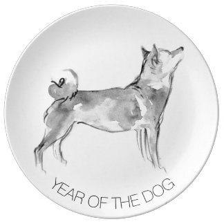 Shiba Inu Painting 1 Dog Year Collector Plate