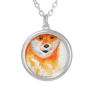 Shiba Inu Portrait Silver Plated Necklace