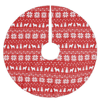 Shiba Inu Silhouettes Christmas Pattern Red Brushed Polyester Tree Skirt