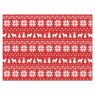Shiba Inu Silhouettes Christmas Pattern Red Tissue Paper