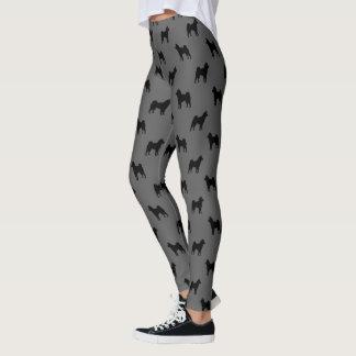 Shiba Inu Silhouettes Pattern Grey and Black Leggings