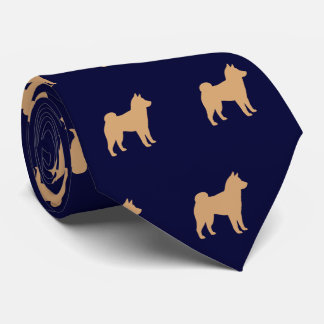 Shiba Inu Silhouettes Pattern Tie