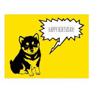 Shiba Inu Speech Bubble Happy Birthday Postcard
