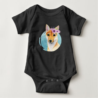 Shiba Inu with Flower Crown Watercolor Painting Baby Bodysuit