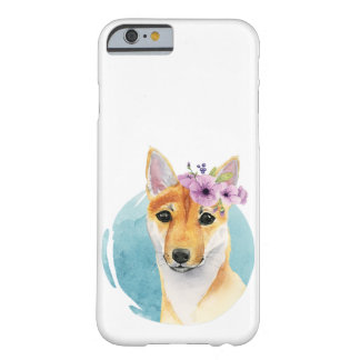 Shiba Inu with Flower Crown Watercolor Painting Barely There iPhone 6 Case