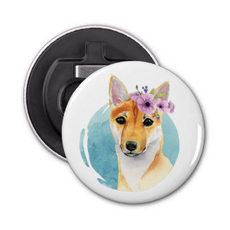 Shiba Inu with Flower Crown Watercolor Painting Bottle Opener