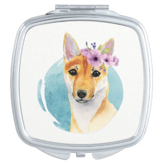 Shiba Inu with Flower Crown Watercolor Painting Makeup Mirror