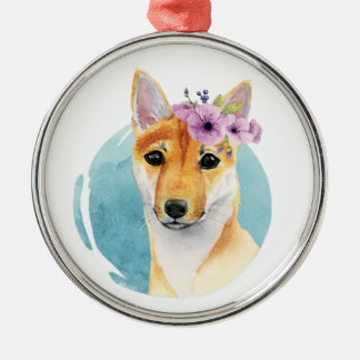 Shiba Inu with Flower Crown Watercolor Painting Metal Ornament