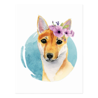 Shiba Inu with Flower Crown Watercolor Painting Postcard