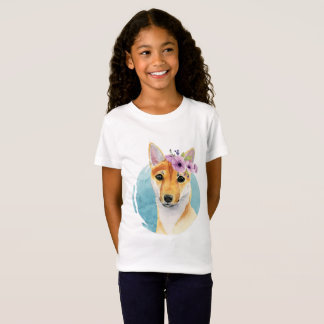 Shiba Inu with Flower Crown Watercolor Painting T-Shirt