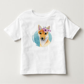Shiba Inu with Flower Crown Watercolor Painting Toddler T-Shirt