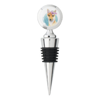 Shiba Inu with Flower Crown Watercolor Painting Wine Stopper