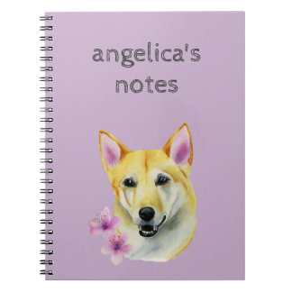 Shiba Inu with Sakura Watercolor Painting Notebook