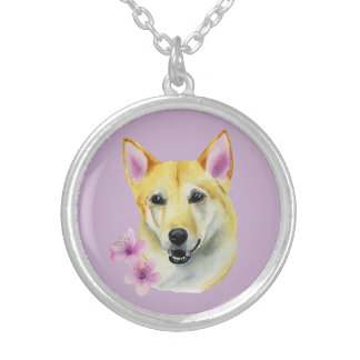 Shiba Inu with Sakura Watercolor Painting Silver Plated Necklace