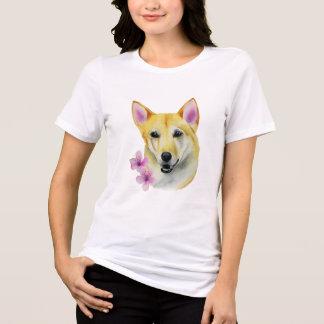 Shiba Inu with Sakura Watercolor Painting T-Shirt