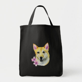 Shiba Inu with Sakura Watercolor Painting Tote Bag