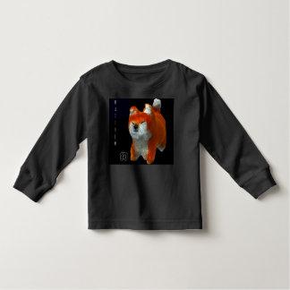 Shiba Puppy 3D Art Dog Year Name Black Baby Shirt