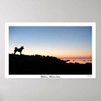 Shiba Sunrise Poster