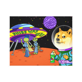 Shibe Doge Astro and the Aliens Memes Cats Cartoon Canvas Print