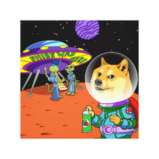 Shibe Doge Astro and the Aliens Memes Cats Cartoon Gallery Wrapped Canvas