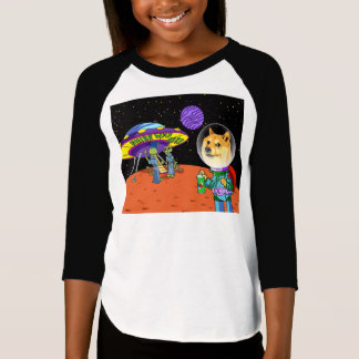 Shibe Doge Astro and the Aliens Memes Cats Cartoon T-Shirt