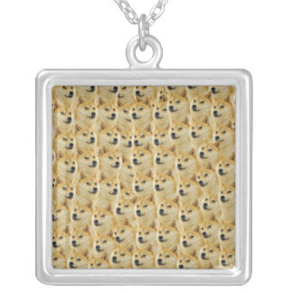 shibe doge fun and funny meme adorable silver plated necklace