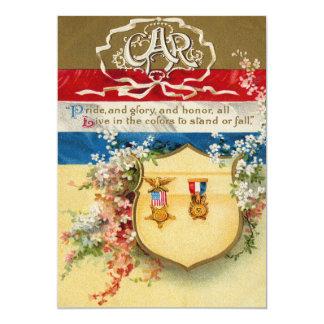 Shield Medal Grand Army of The Republic Flowers 13 Cm X 18 Cm Invitation Card