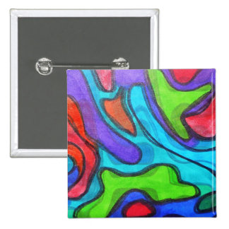 Shifted Squiggles - Modern Abstract Art 15 Cm Square Badge