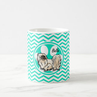 Shih Tzu Aqua Green Chevron Coffee Mugs