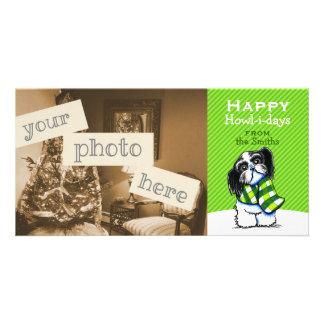 Shih Tzu B/W Scarf Christmas Modern Green Photo Card