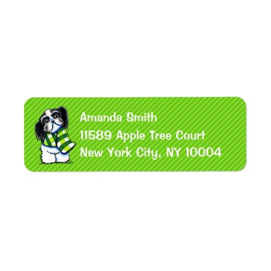 Shih Tzu B/w Scarf Winter Green Stripe Custom Return Address Label