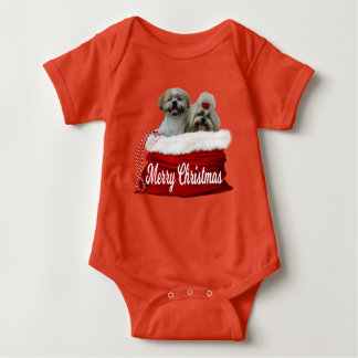 Shih tzu Baby Bodysuit Christmas