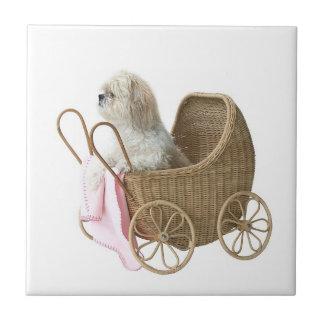 Shih Tzu baby carriage Ceramic Tile