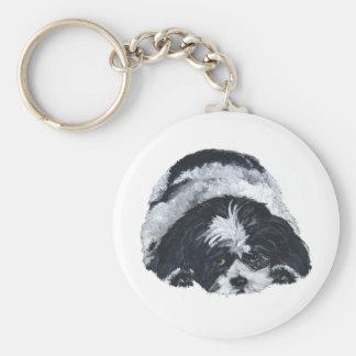 Shih Tzu Black & White Basic Round Button Key Ring